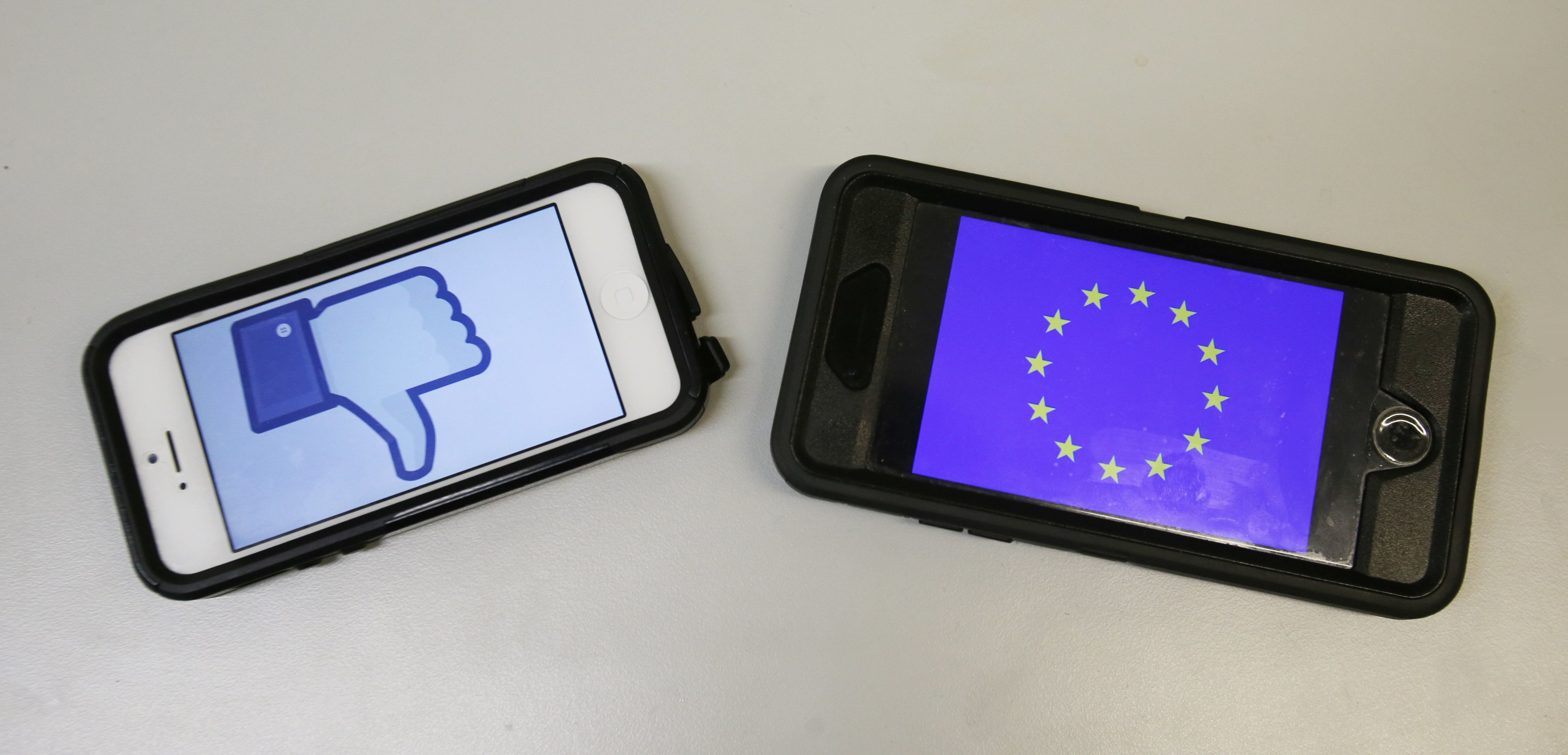 A staged photo of the Facebook Logo and the EU flag on smart phones. US spy chiefs can be blocked from accessing online data of European citizens, a court has ruled.