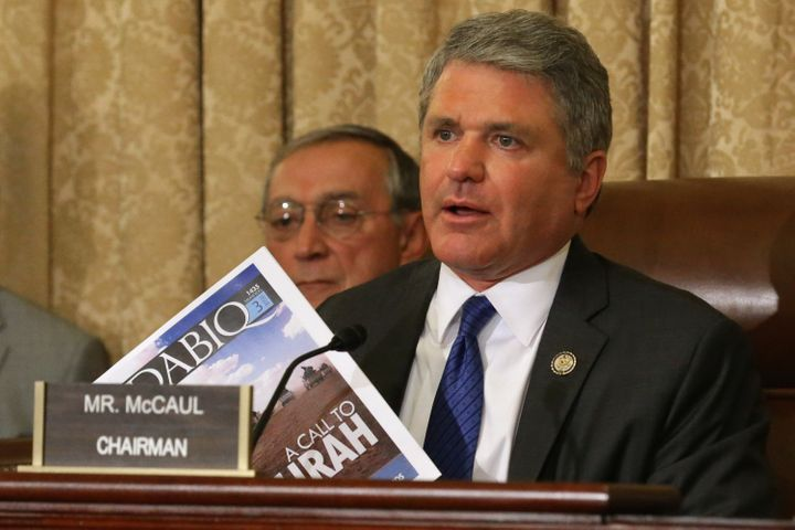 House Homeland Security Committee Chairman Michael McCaul (R-Texas) holds up a copy of Dabiq. As of February 2015, there&nbsp