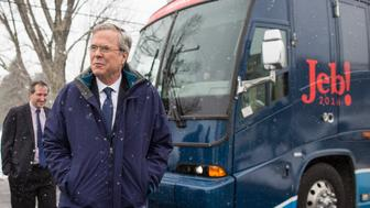 NASHUA, NH - FEBRUARY 08:  Republican presidential candidate Jeb Bush leaves his campaign bus to attend a Rotary Club luncheon at Nashua Country Club on February 8, 2016 in Nashua, New Hampshire. Candidates are making their last campaign stops before the first in the Nation primary in New Hampshire on Tuesday.  (Photo by Scott Eisen/Getty Images)