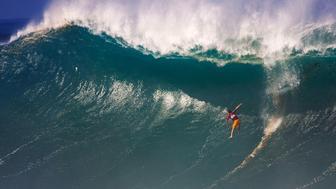 WAIMEA BAY, HI - DECEMBER 15:  Daryl 'Flea' Virotsko of USA wipes-out during the Quiksilver Eddie Aikau Big Wave Invitational contest on December 15, 2004 in Waimea Bay, Hawaii.  (Photo by Karen Wilson/ASP via Getty Images)