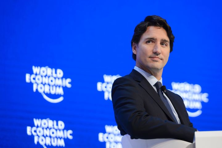 Canadian Prime Minister Justin Trudeau looks on during a session of the World Economic Forum (WEF) annual meeting in Davos, o