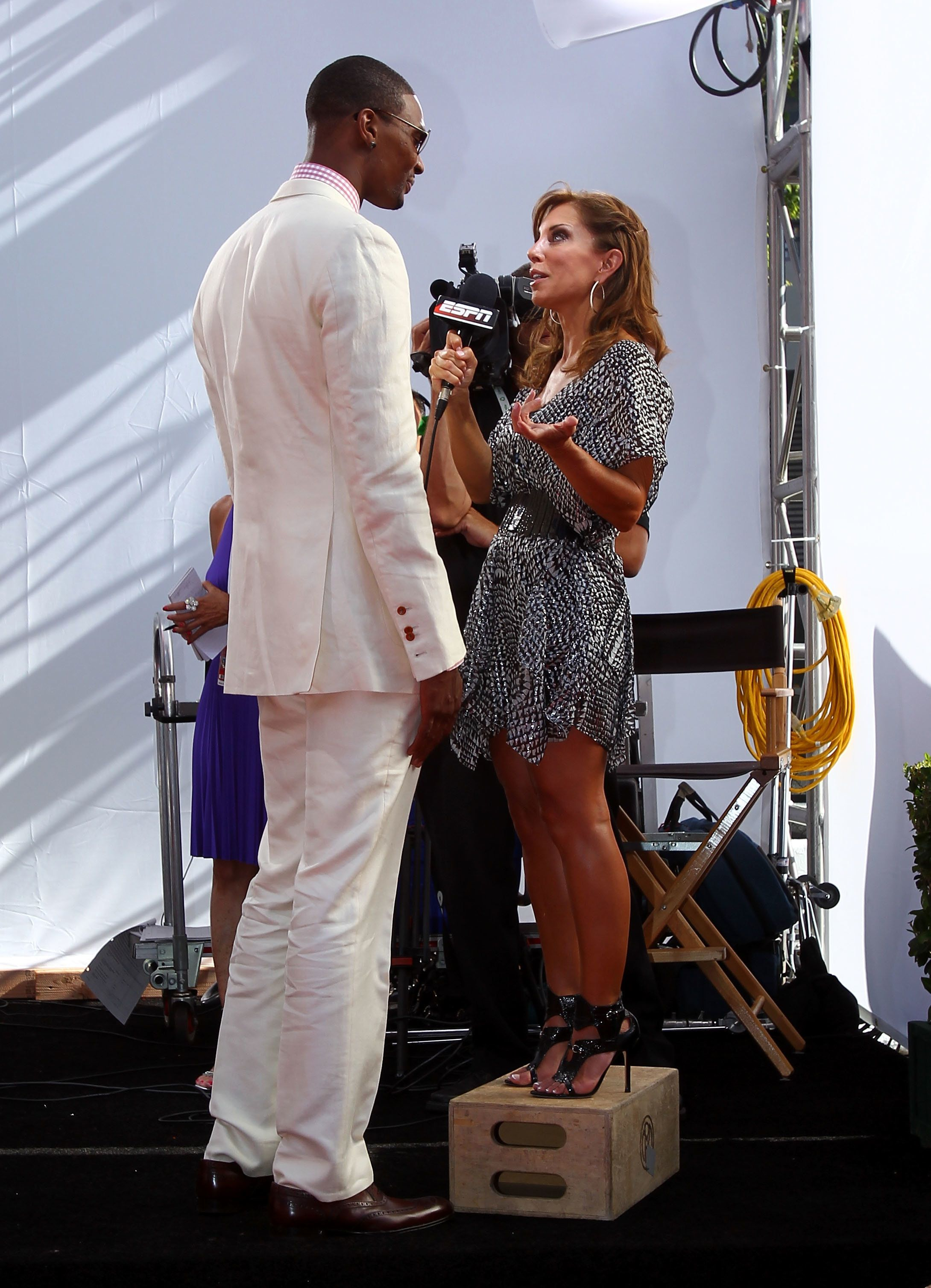 LOS ANGELES, CA - JULY 14:  Chris Bosh of the Miami Heat talks with Colleen Dominguez of ESPN at the 2010 ESPY Awards at Nokia Theatre L.A. Live on July 14, 2010 in Los Angeles, California.  (Photo by Alexandra Wyman/Getty Images for ESPY)