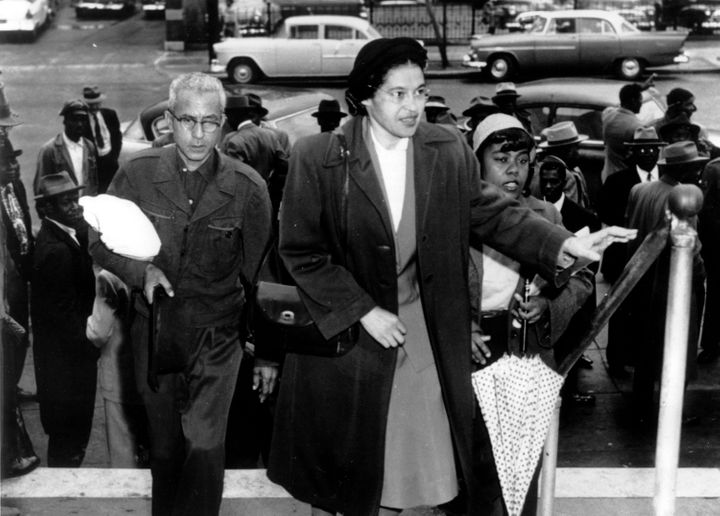 """Rosa Parks, known asas the """"mother of the civil rights movement,"""" arrivingat circuit court to be arraigned in the"""