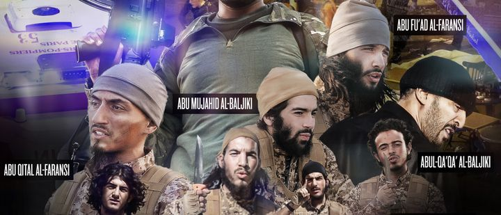 This excerpt from an issue of Dabiq shows stylized portraits of the Paris attackers. The magazine attempts to glorify Is