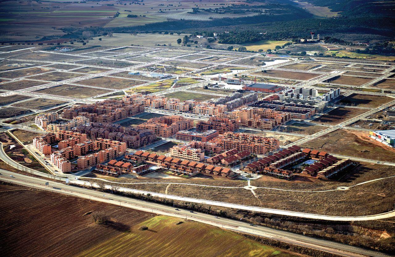 Central area of Ciudad Valdeluz, a half-finished development near Guadalajara in Spain, shown in 2014.