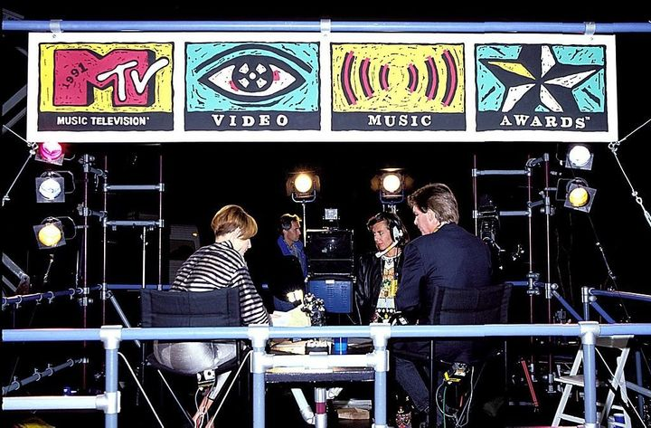 Good ol' days: MTV News hosts Tabitha Soren and Kurt Loder on set in 1991.