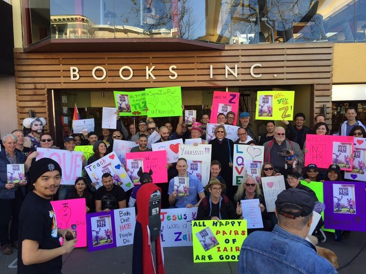 The counter-protesters at the <i>Square Zair Pair</i> reading.
