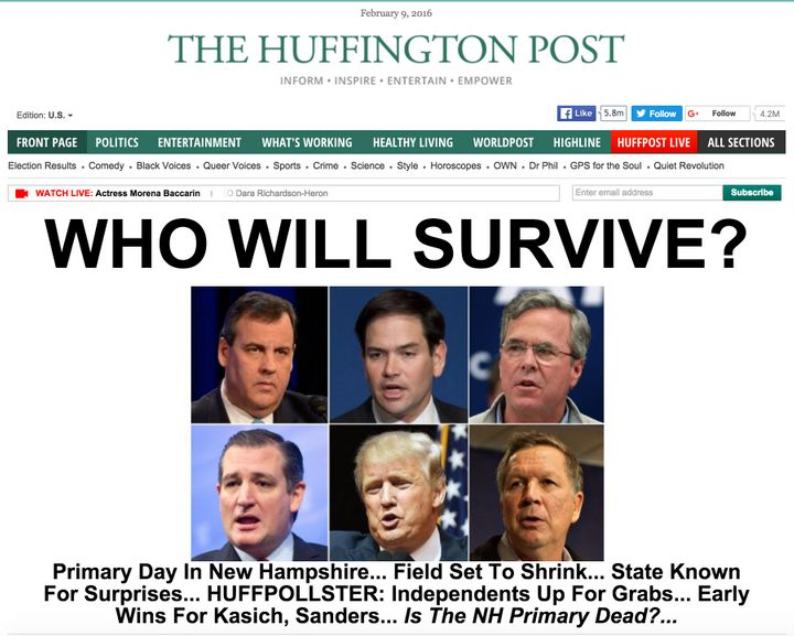 The Huffington Post's front page on the afternoon of the 2016 New Hampshire primary showssix GOP candidates in a purpor
