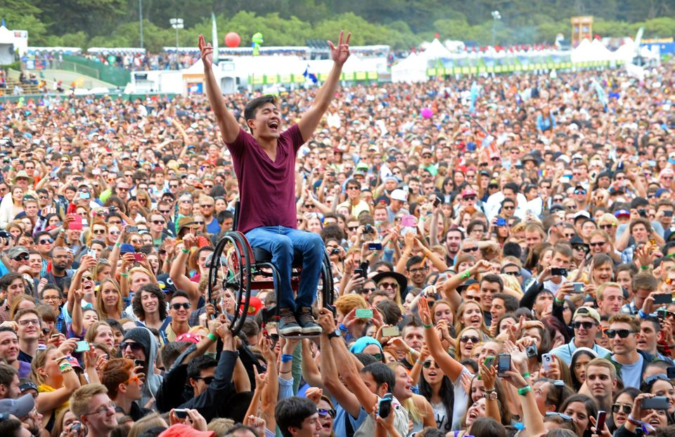 A music fan crowd surfs at the Lands End Stage during day 2 of the 2013 Outside Lands Music and Arts...
