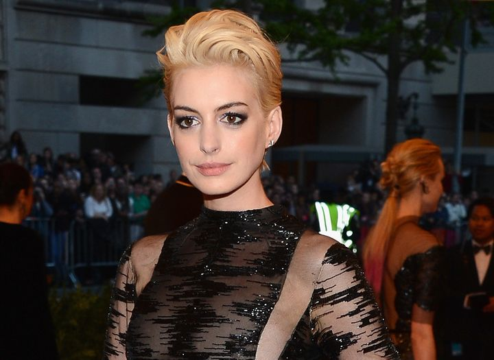 Anne Hathaway attends the Costume Institute Gala for the 'PUNK: Chaos to Couture' exhibition at the Metropolitan Museum of Ar