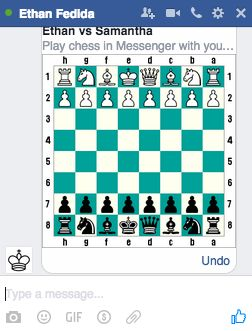 Here's what a Facebook Messenger chessboard looks like.