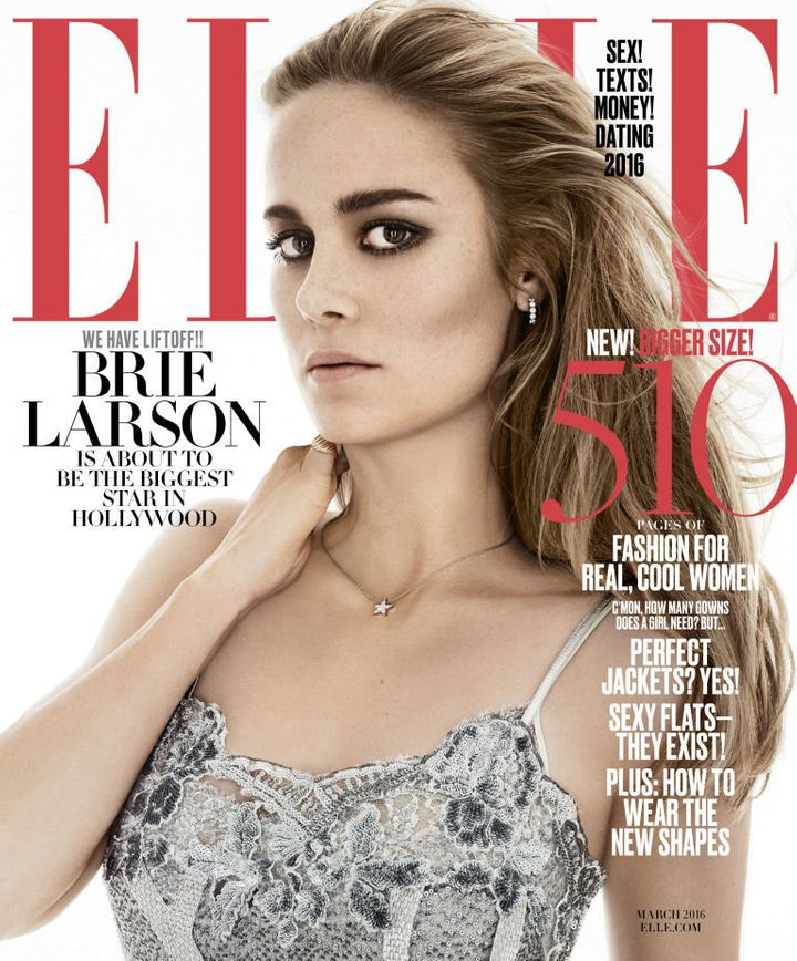 Brie Larson for the March 2016 issue of Elle magazine.