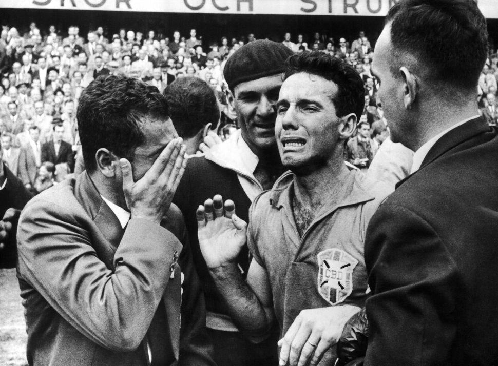 SWEDEN - JUNE 29: The Brazilian left winger Mariao ZAGALLO weeping for joy after the victory of his team on that of Sweden. T