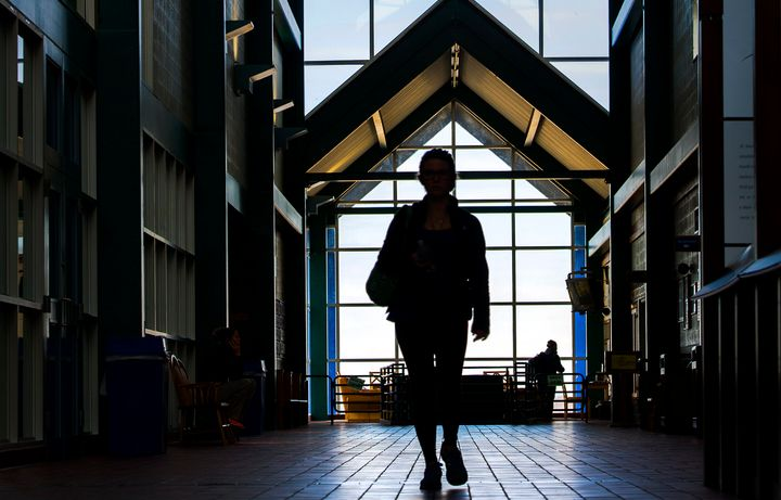 A Mount St. Mary's University studentmakes her way through the school's recreational facility inEmmitsburg, Maryl