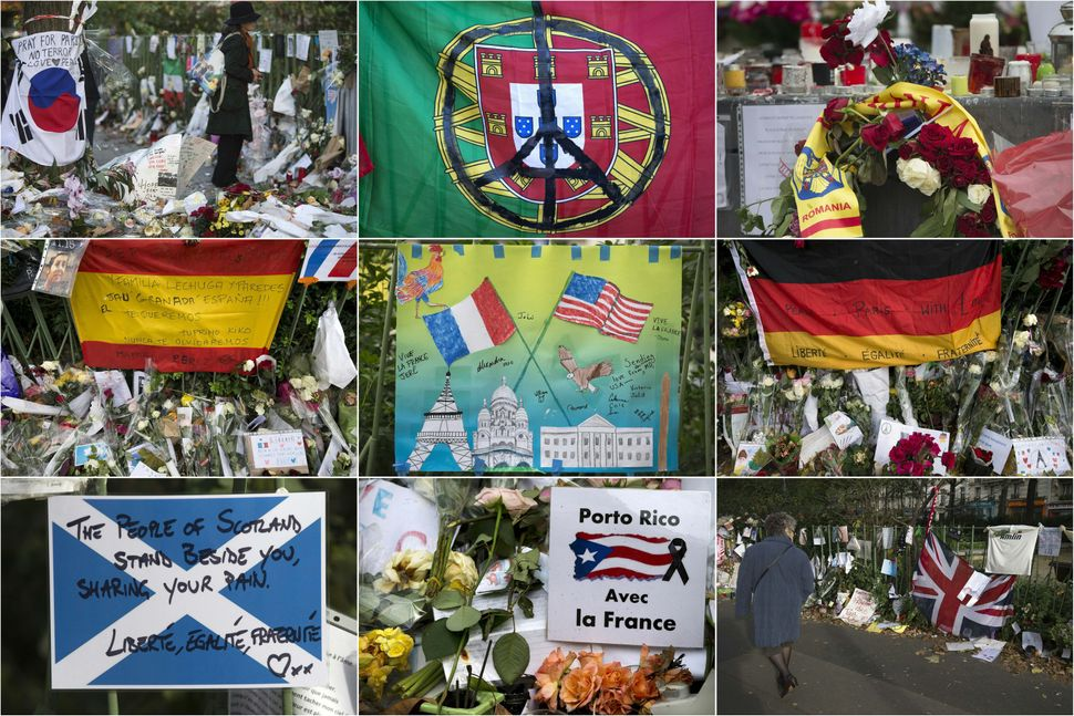 A combination made with pictures taken on November and December 2015 shows foreign tributes at a makeshift memorial near the
