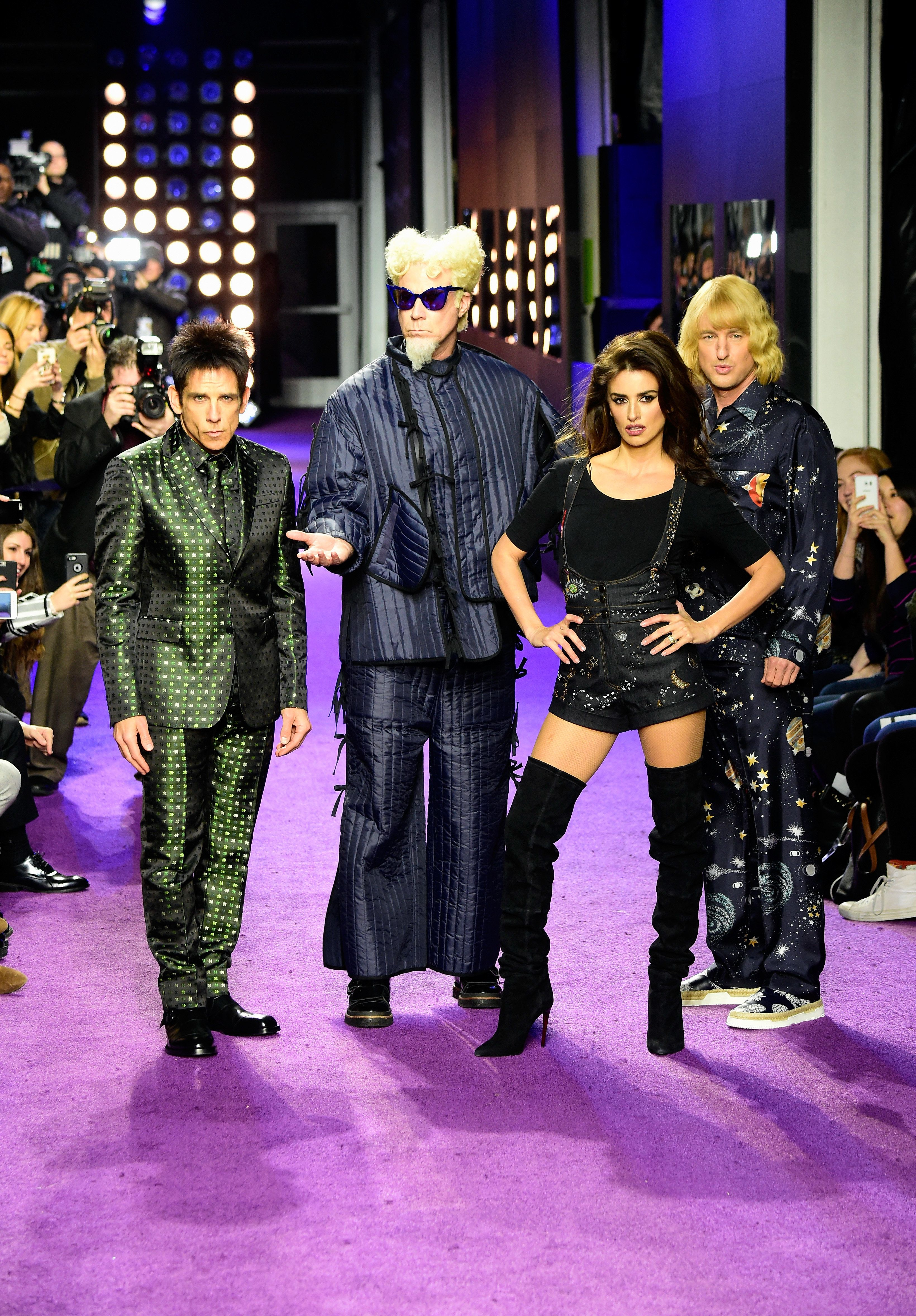 NEW YORK, NY - FEBRUARY 09:  (L-R) Actors Ben Stiller, Will Ferrell, Penelope Cruz and  Owen Wilson walk the runway during the 'Zoolander No. 2' World Premiere at Alice Tully Hall on February 9, 2016 in New York City.  (Photo by Frazer Harrison/Getty Images for Paramount)