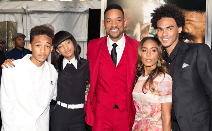 Jaden Smith, Willow Smith, Will Smith, Jada Pinkett Smith and Trey Smith attend the 'After Earth' premiere at Ziegfeld Theate