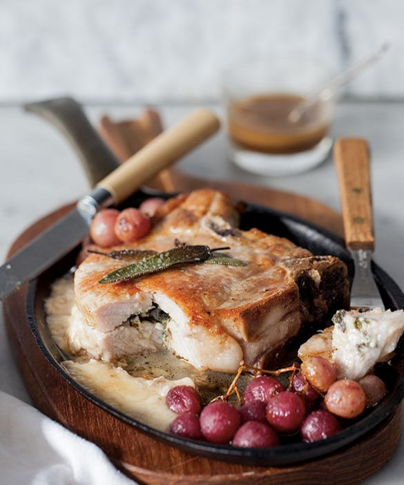 "<strong>Get the <a href=""http://www.foodiecrush.com/stuffed-pork-chops-with-roasted-grapes/"" target=""_blank"">Stuffed Pork Cho"