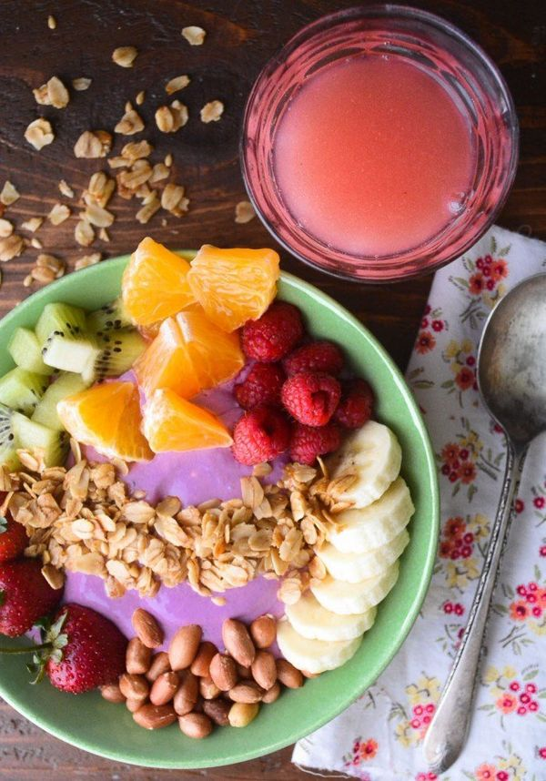 """<strong>Get the <a href=""""http://theviewfromgreatisland.com/breakfast-smoothie-bowl/"""" target=""""_blank"""">Breakfast Smoothie Bowl"""