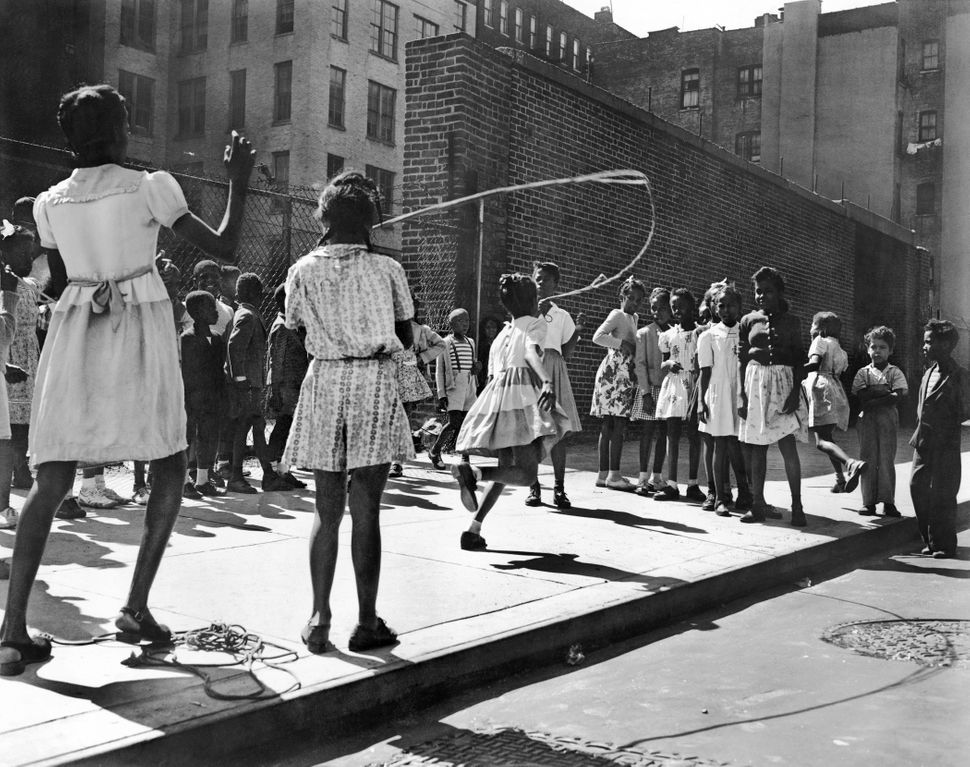 "1946: Rope skipping on a block in Harlem, where Zora Neale Hurston led a group of women who were working to bring joy and ""st"
