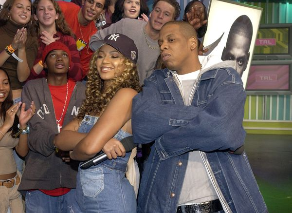"Jay Z and Beyoncé Knowles during ""Spankin' New Music Week"" on on MTV's ""TRL."""