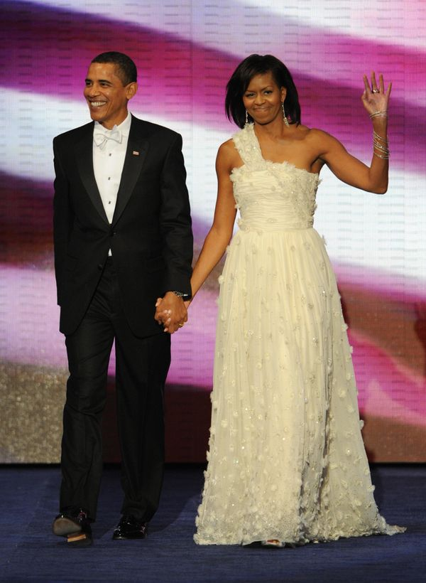 President Barack Obama and First Lady Michelle Obama arrive at the Neighborhood Ball January 20, 2009 in Washington, D.C., th