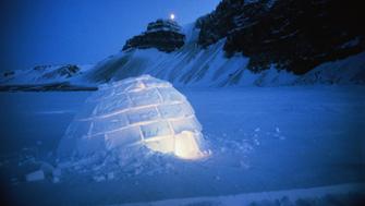 Canada,North-West Territories, Hudson Bay,igloo at night