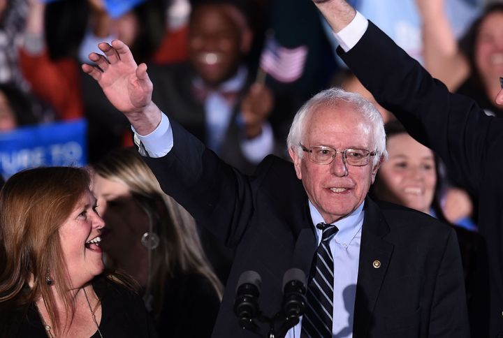"Bernie Sanders celebrated his victory in New Hampshire as a blow to the ""political and economic establishment,"" a populist cr"