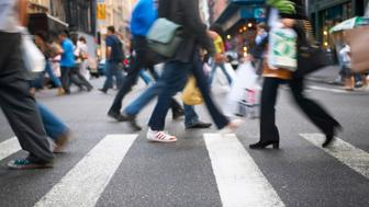Pedestrians Crossing the Street, Soho, New York, USA