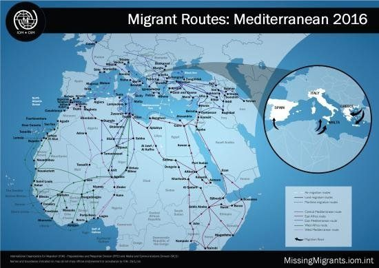 This map shows common routes that migrants and refugees are taking to cross the sea to Europe.