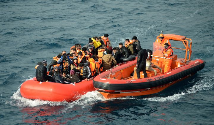 The Turkish Coast Guard rescues refugees in the Aegean Sea on Feb. 9, 2016. At least 409 people have died trying to reac
