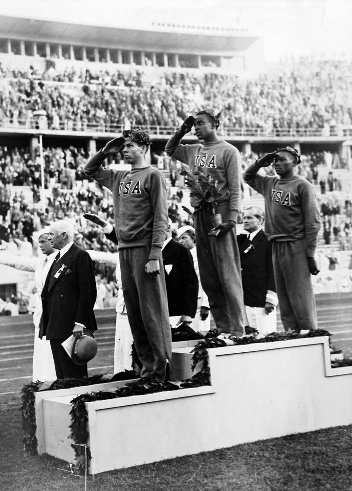 David Albritton (far right) during the award ceremony for the high jump.