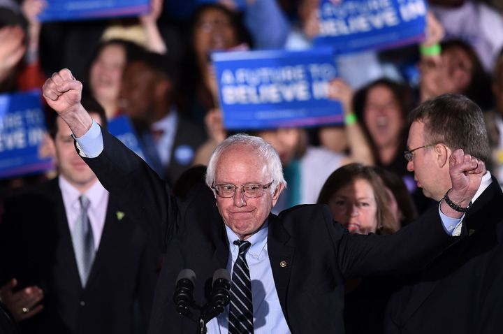Bernie Sanders, seen here in New Hampshire on Tuesday, has been performing best with young voters and independents.