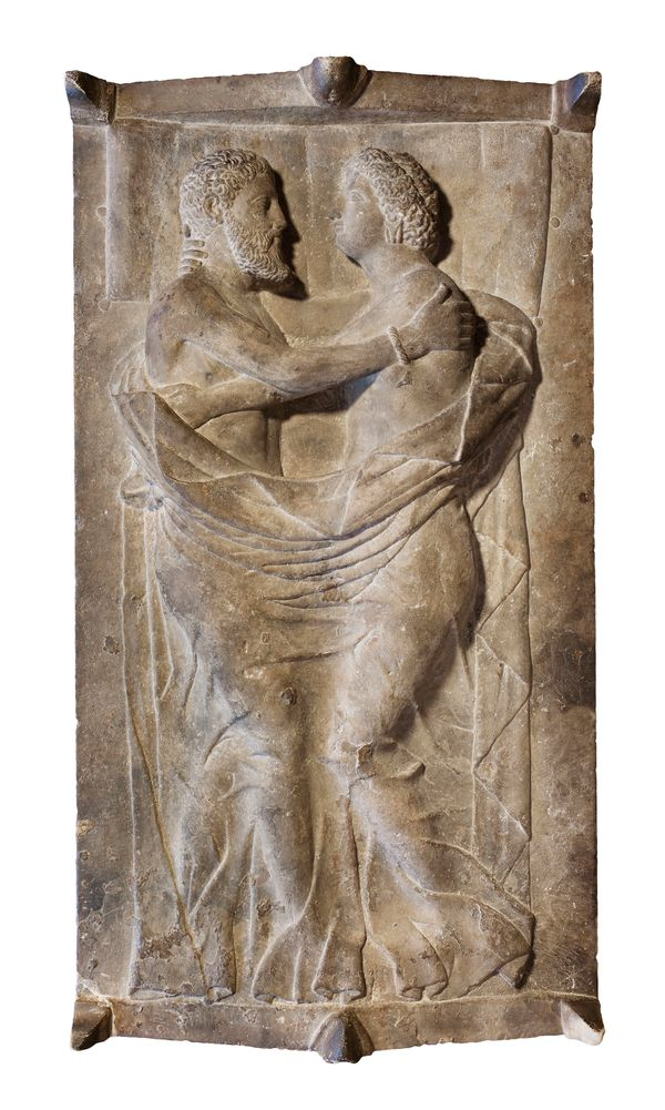 Sarcophagus and lid with husband and wife 350-300 B.C. Marble. Museum purchase with funds donated by contribution and the Ben