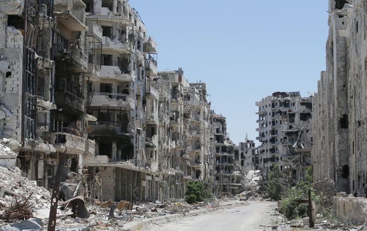 A bombed-out neighborhood in Homs. Fighting destroyed much of the city.