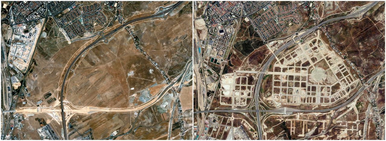 The El Cañaveral development, shown from above in 2002 and 2012, is located in central Spain.