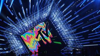 LOS ANGELES, CA - AUGUST 30:  MTV Logo is seen onstage during the 2015 MTV Video Music Awards at Microsoft Theater on August 30, 2015 in Los Angeles, California.  (Photo by Kevork Djansezian/Getty Images)