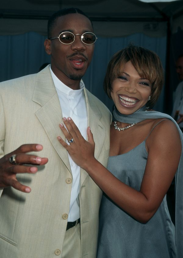 Actress Tisha Campbell and husband Duane Martin attending the 1st Annual Soul Train Lady of Soul Awards on August 6, 1995.