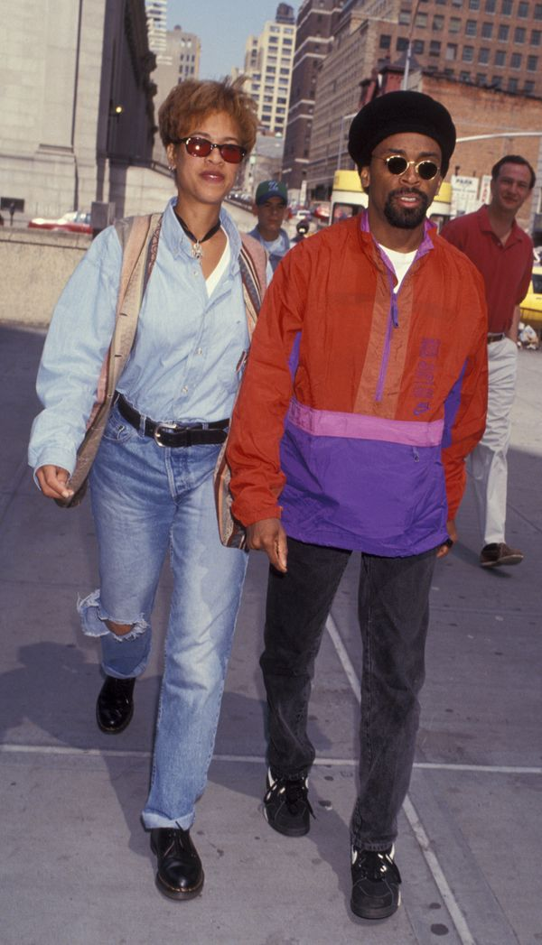 Director Spike Lee and wife Tonya Lewis Lee attend a Knicks basketball game on May 2, 1993 at Madison Square Garden in New Yo