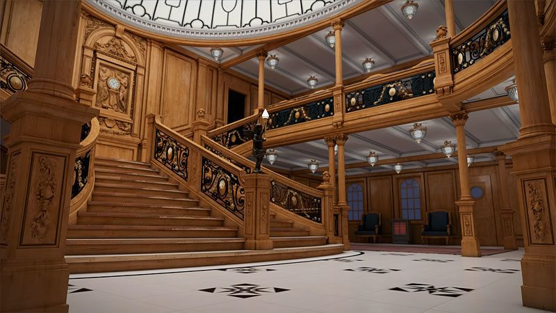 The historic ship's grand staircase, which was heavily featured in James Cameron's 1997 movie, is seen in a rendering of how