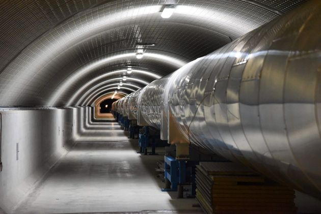 A 3-kilometers-long arm part of the Virgo detector at the European Gravitational Observatory used for...