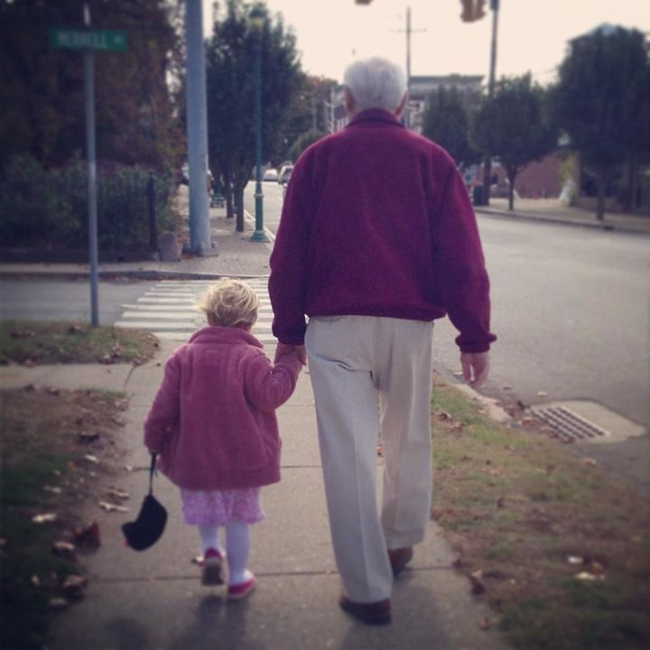 Pa and his great-granddaughter taking a stroll in 2013.