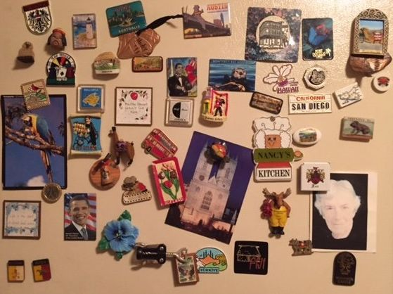 My grandparents' life together in magnets on my grandfather's fridge.