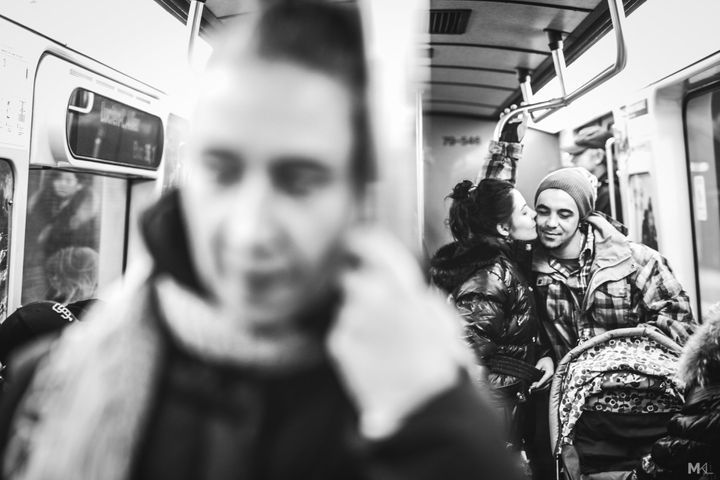 A tendermoment on the metro in Montreal.