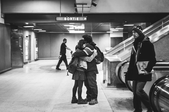 A sweet embrace in Montreal.