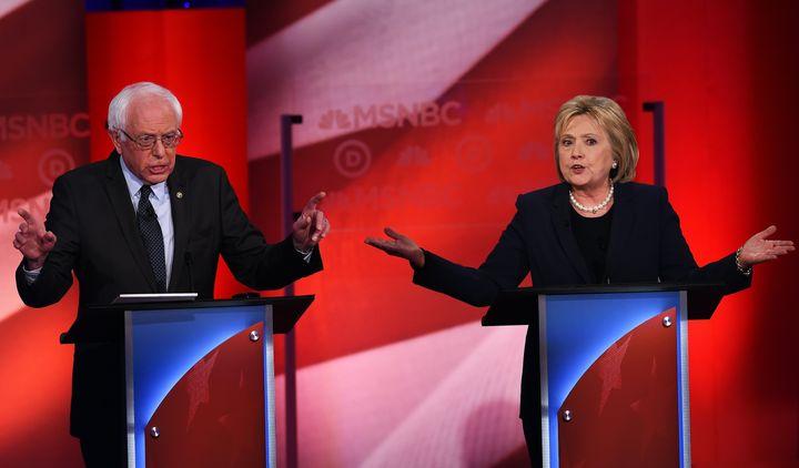 Clinton and Sanders at the last Democratic Debate on Feb. 4.