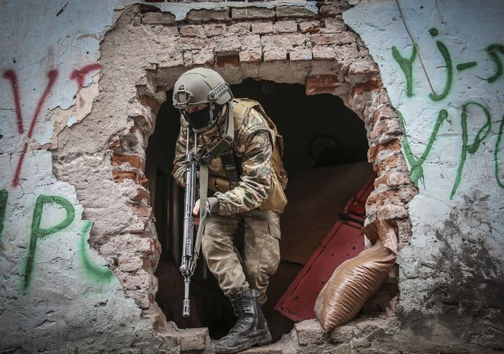 A Turkish soldier in a ruined neighborhood of Diyarbakir, one of the most important cities for the Middle East's Kurds, on January 21, 2016. Much of Turkey's Kurd-dominated southeast is now in tatters.