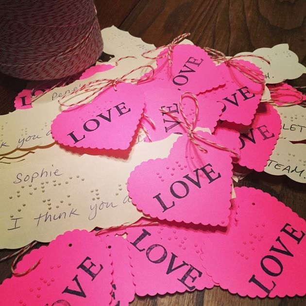 The sweetest Valentine! Blind second grader crafts homemade braille cards