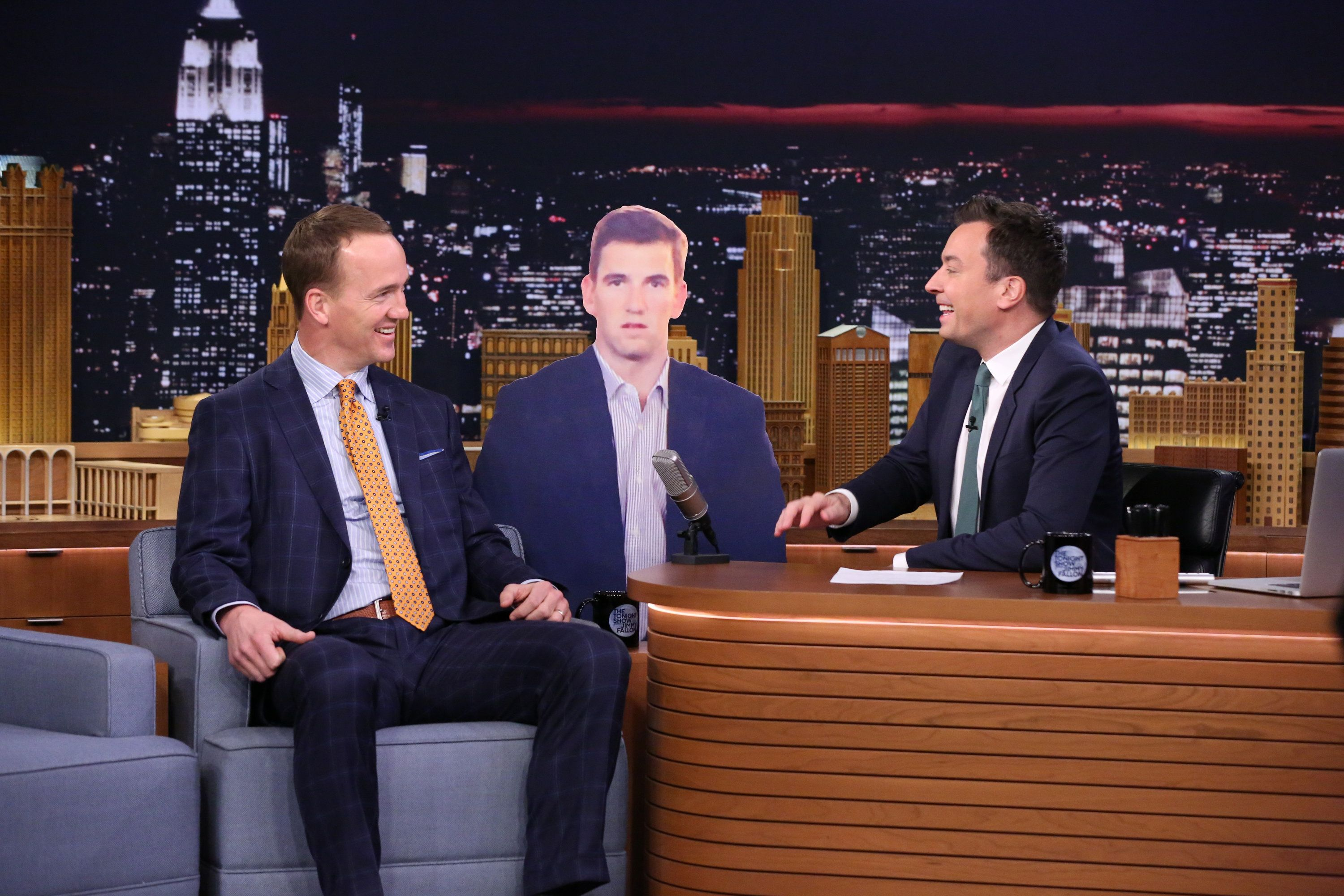 THE TONIGHT SHOW STARRING JIMMY FALLON -- Episode 0415 -- Pictured: (l-r) Football quarterback Peyton Manning during an interview with host Jimmy Fallon on February 10, 2016 -- (Photo by: Andrew Lipovsky/NBC/NBCU Photo Bank via Getty Images)