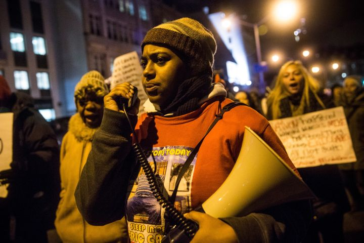 Erica Garner, seen here protesting the lack of an indictment for the officer that put her father in a chokehold that led